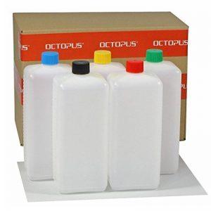 Bouteilles en plastique Octopus 5 x 1000 ml, bouteilles en plastique PE-HD avec bouchon à vis de couleur vive, bouteilles vides avec bouchons à vis colorés, bouteilles carrées. 5 étiquettes incluses. de la marque Octopus image 0 produit