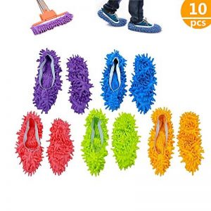 chaussons mop,5 Paires Multifonction Microfibre Poussière Mop Chaussures Chaussons De Nettoyage Pour La Maison, 5 Couleurs de la marque ZoneYan image 0 produit