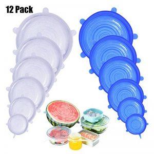 DigHealth 12 Pièces Couvercles en Silicone, Couvercle Extensibles en Silicone sans BPA, Couvercle Universel de 6 Tailles Differentes pour Micro-Ondes/Le Four/Le Frigo/Le Lave-Vaisselle de la marque DigHealth image 0 produit