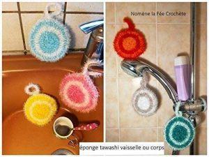 Eponge tawashi durable, accessoire pour la vaisselle ou le corps, lavable en machine, fait main au crochet, coloris au choix, de la marque N/D image 0 produit