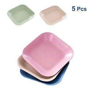 Goter Assiettes à dîner en Paille de blé de 18 cm, allant au Four à Micro-Ondes et au Lave-Vaisselle, salades/gâteaux légers sans BPA, Anti-tombés, Non Toxiques (Carré, 4 Couleurs) de la marque Goter image 0 produit