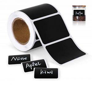 ilauke 150 étiquettes Cuisine Haute qualité en Noir Mat pour Pots et bocaux. Etiquettes Autocollantes Vierges en Format Ardoise pour boîtes à épices et Pots de Confiture,4cm x 6cm de la marque ilauke image 0 produit