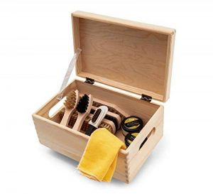 Kit d'entretien de chaussures Kit en bois Boîte à valets style Verona, crème à chaussures à base d'eau Kaps avec brosses, fabriquée en Europe, bottes de nettoyage en cuir brillant, 10 pièces de la marque Langlauf-Schuhbedarf image 0 produit