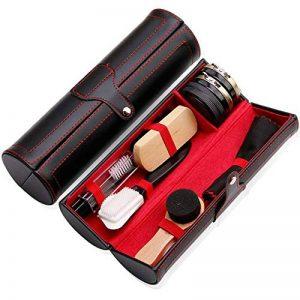 Kit pour Cirage de Chaussures - (10 pcs) Kit pour cirage très complet de voyage avec boîtier élégant en cuir PU - Accessoire cirage chaussure de la marque Rainnao image 0 produit