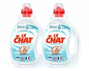 Le Chat Sensitive 0% - Lessive Liquide Hypoallergénique - Sans Parfum - 80 Lavages (Lot de 2 x 2L) de la marque Le-Chat image 0 produit