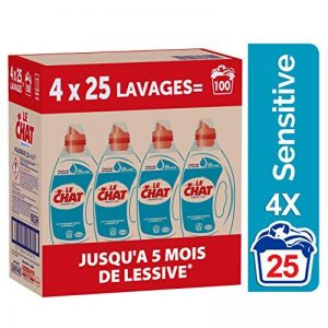 Le Chat Sensitive - Lessive Liquide - 100 Lavages (4 x 1.25L) de la marque Le-Chat image 0 produit