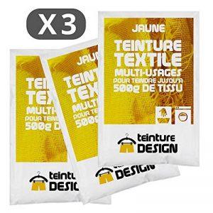 Lot de 3 sachets de Teinture Textile - JAUNE - teintures universelles pour vêtements et tissus naturels de la marque Teinture-Design image 0 produit