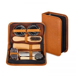 make it funwan Kit pour Cirage de Chaussures avec étui élégant en cuir PU, Kit pour cirage de chaussures de voyage 7 pièces de la marque make it funwan image 0 produit