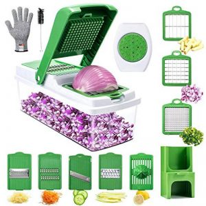 Mandoline Cuisine,WOKOKO 8 en 1 Multifonction Professionnelle Coupe légumes, coupe fruits, coupe pommes de terre avec des couteaux Gants(Ne peut pas être utilisé pour le nettoyage du lave-vaisselle!) de la marque WOKOKO image 0 produit