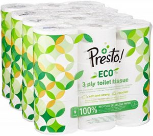 Marque Amazon - Presto! Papier toilette 3 épaisseurs - ECO - Lot de 36 (4 x 9 x 200 feuilles) de la marque Presto image 0 produit