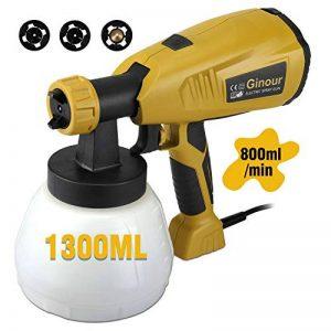 Pistolet à peinture, Ginour 400W Pulvérisateur de peinture avec réservoir amovible de 1300 ml, 3 modèles de pulvérisation et 3 tailles de buse 1.8,2.6,3.0mm, 800 ml/min,Technologie HVLP de la marque ginour image 0 produit