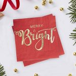 Red & Gold - Gold Foiled Merry And Bright Cocktail Napkins de la marque Ginger-Ray image 1 produit