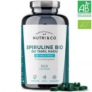 Spiruline Bio AB | 500 Comprimés de 500 mg Purs sans Excipient | 15 à 19% de Phycocyanine | Poudre Séchée et Compressée à Froid | Analysée et Conditionnée en France par Nutri&Co ® de la marque NUTRI-CO image 0 produit