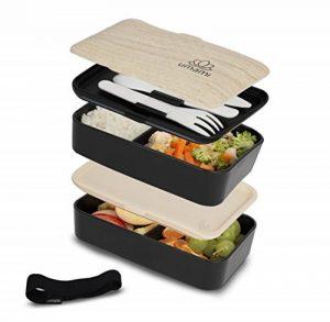 Umami® ⭐ Lunch Box Noir Bambou   Boîte Bento Japonaise Premium avec 3 Couverts Solides Et 1 Pot À Sauce   1200ml   Hermétique   Passe Au Micro-Ondes Et Au Lave-Vaisselle   sans BPA   Marque Déposée de la marque Umami image 0 produit