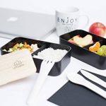 Umami® ⭐ Lunch Box Noir Bambou   Boîte Bento Japonaise Premium avec 3 Couverts Solides Et 1 Pot À Sauce   1200ml   Hermétique   Passe Au Micro-Ondes Et Au Lave-Vaisselle   sans BPA   Marque Déposée de la marque Umami image 3 produit